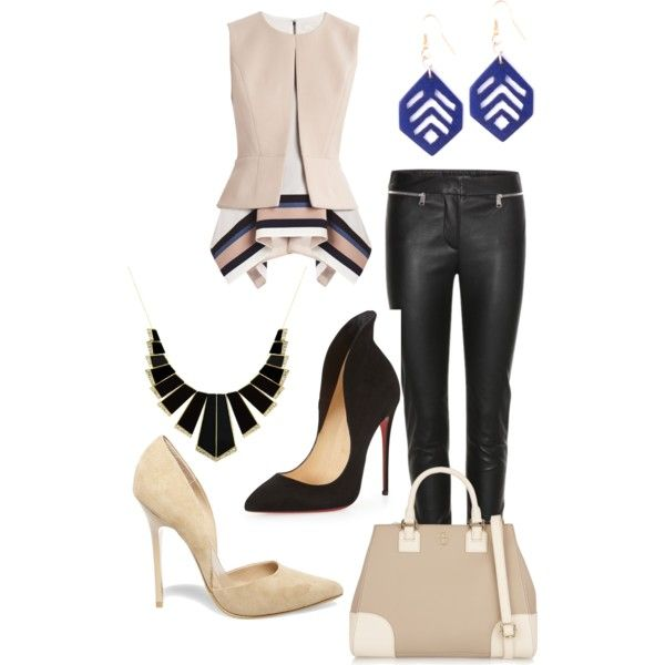 A fashion look from January 2015 featuring BCBGMAXAZRIA tops, Alexander McQueen pants and Christian Louboutin pumps. Browse and shop related looks.