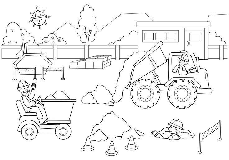 Construction Site Coloring Pages For Kids Coloring Pages Coloring Pages For Kids Kindergarten Coloring Pages Coloring Pages