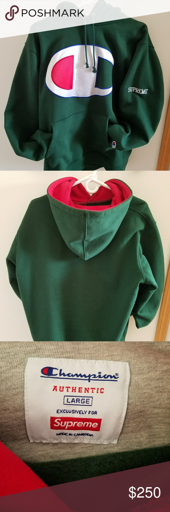 Supreme Champion Satin Logo Hoodie Forest Green Hoodies Forest Green Clothes Design [ 1740 x 580 Pixel ]