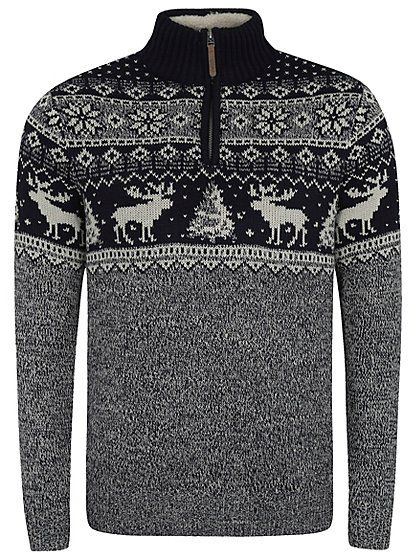 Cute Christmas Jumper - Moose Zip Neck Jumper | Men | George at ASDA  sc 1 st  Pinterest & Cute Christmas Jumper - Moose Zip Neck Jumper | Men | George at ...
