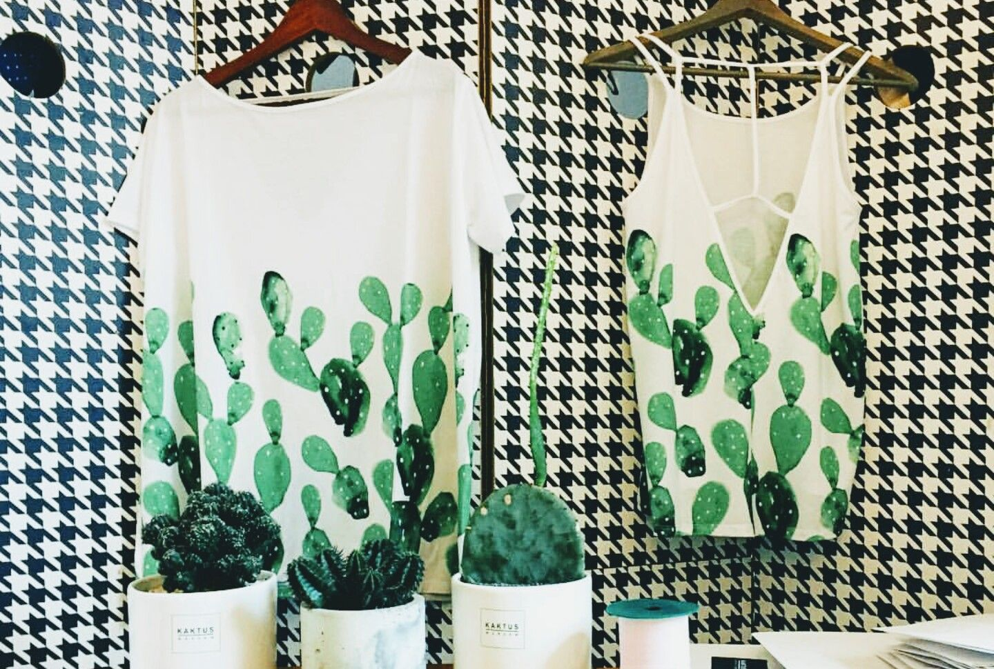 Cactus print and houndstooth