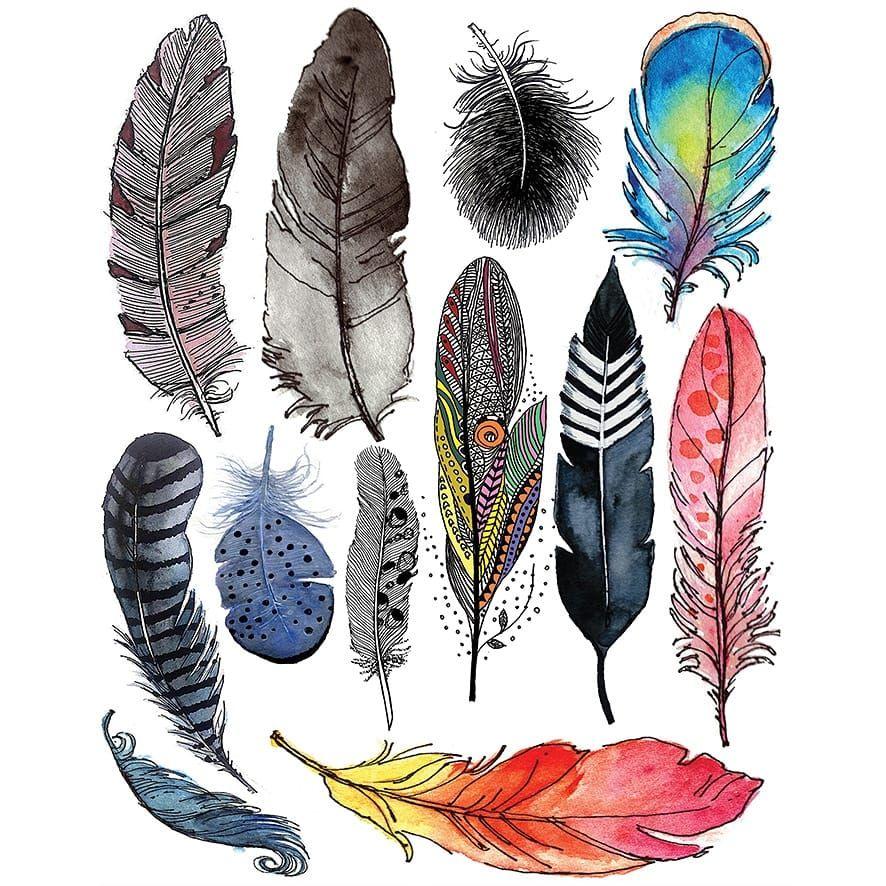 ريش ملونة بألاوان المائية Feather Birds Temporary Tattoos
