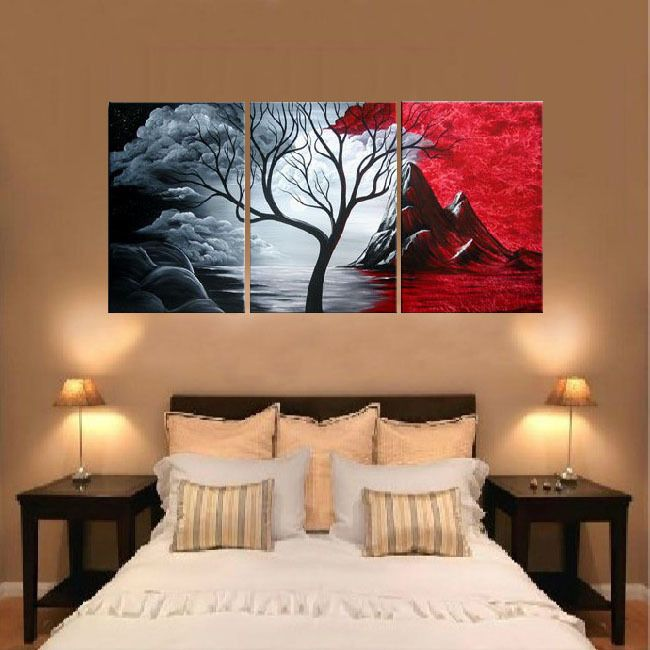 Free Shipping Handpainted 3 Piece Canvas Wall Art Red Black White Oil Painting As Unique Gift F Multi Canvas Painting Red Paintings Canvas Canvas Painting Diy