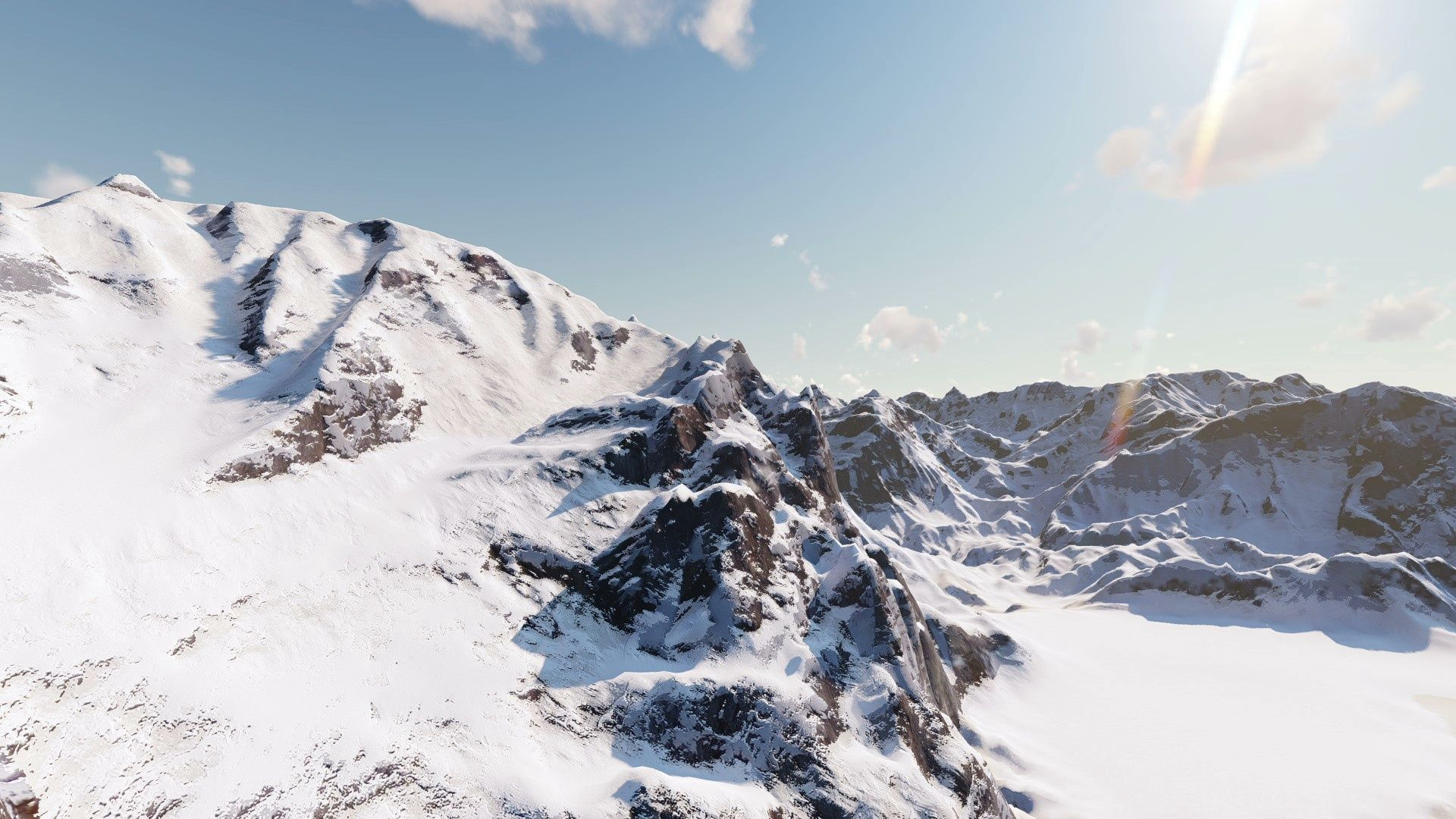 Flying over beautiful snowcovered mountains stock footage