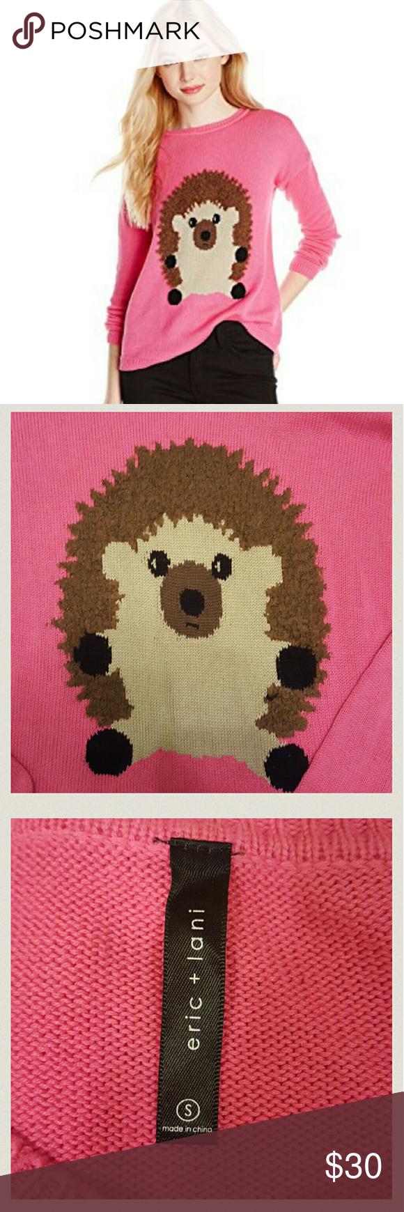Eric & Lani Hedgehog Sweater Super fun and adorable pink sweater featuring a hedgehog!! Material is 60% cotton and 40% viscose. Machine washable. No stains, holes, etc. Very little pilling. Eric & Lani Sweaters