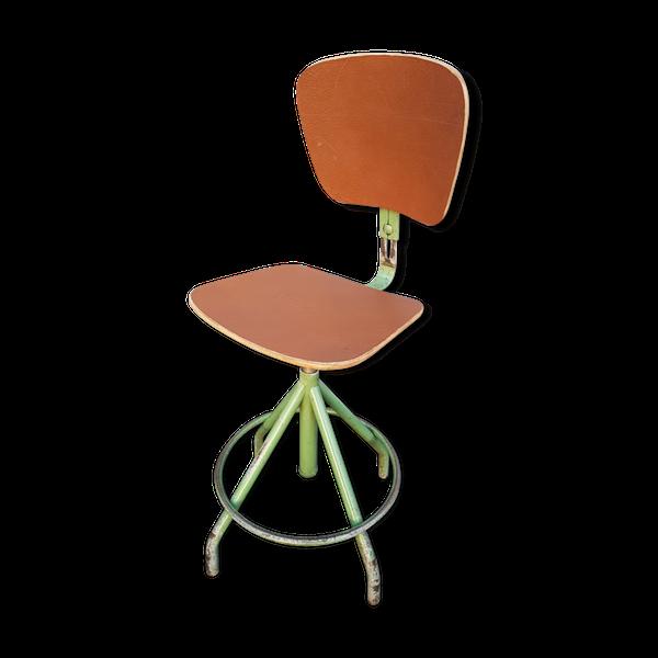 Chaise D Atelier D Architecte Vintage Bao Green Et Cuir Chocolat