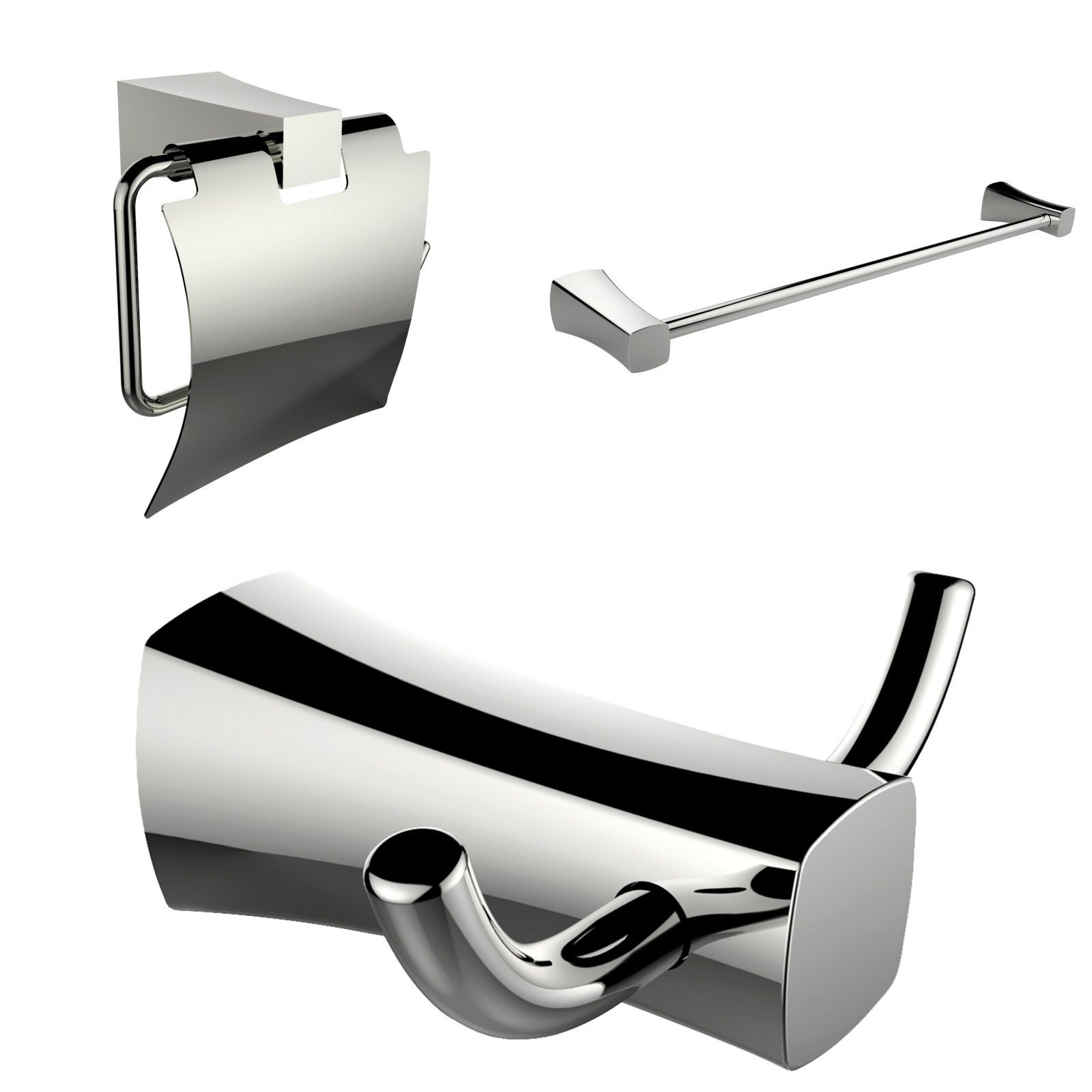 American Imaginations Single Rod Towel Rack, Robe Hook And Toilet Paper Holder Accessory Set (Chrome), Silver (Metal)