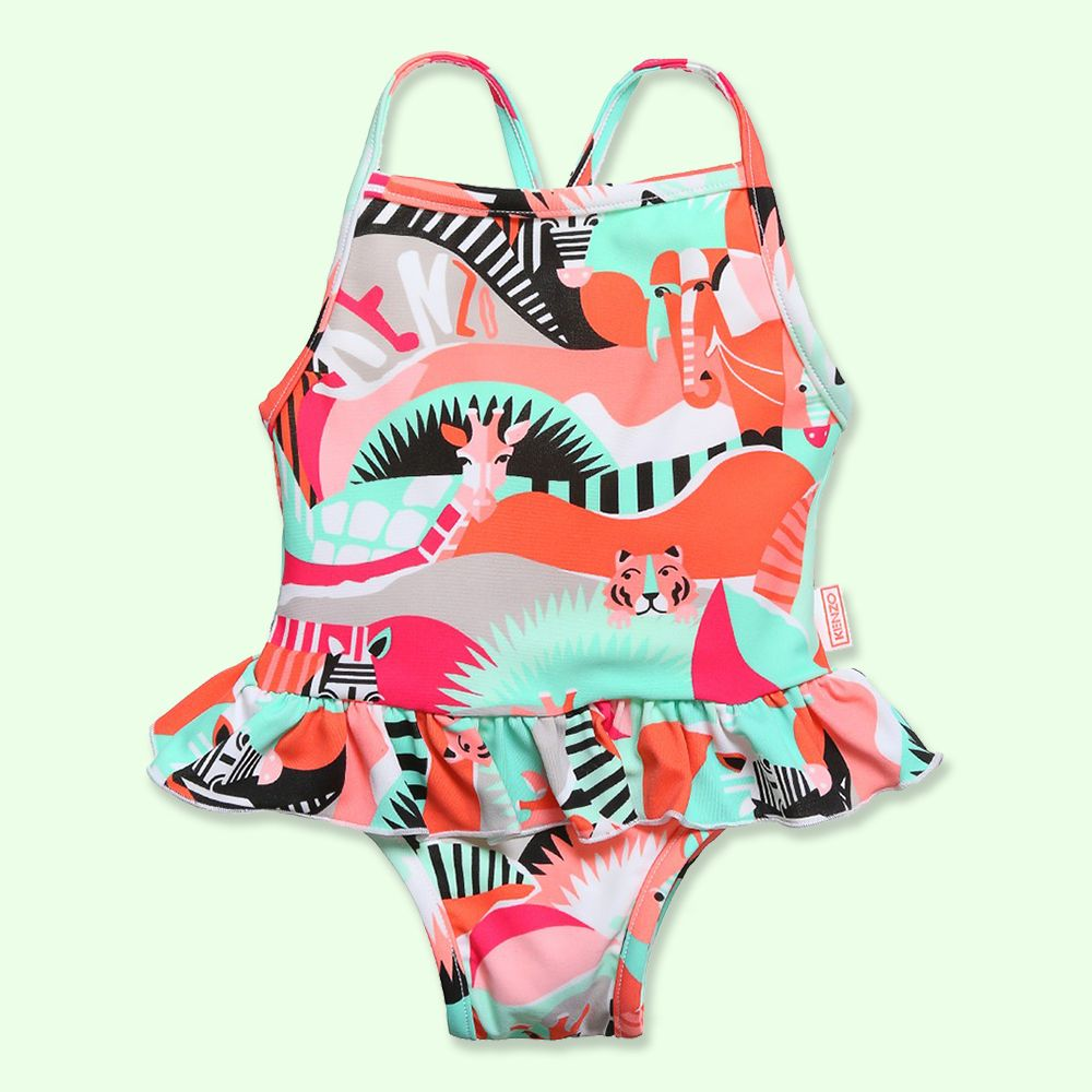 Kenzo Girls Pink & Green 'Animal Party' Swimsuit at Childrensalon.com