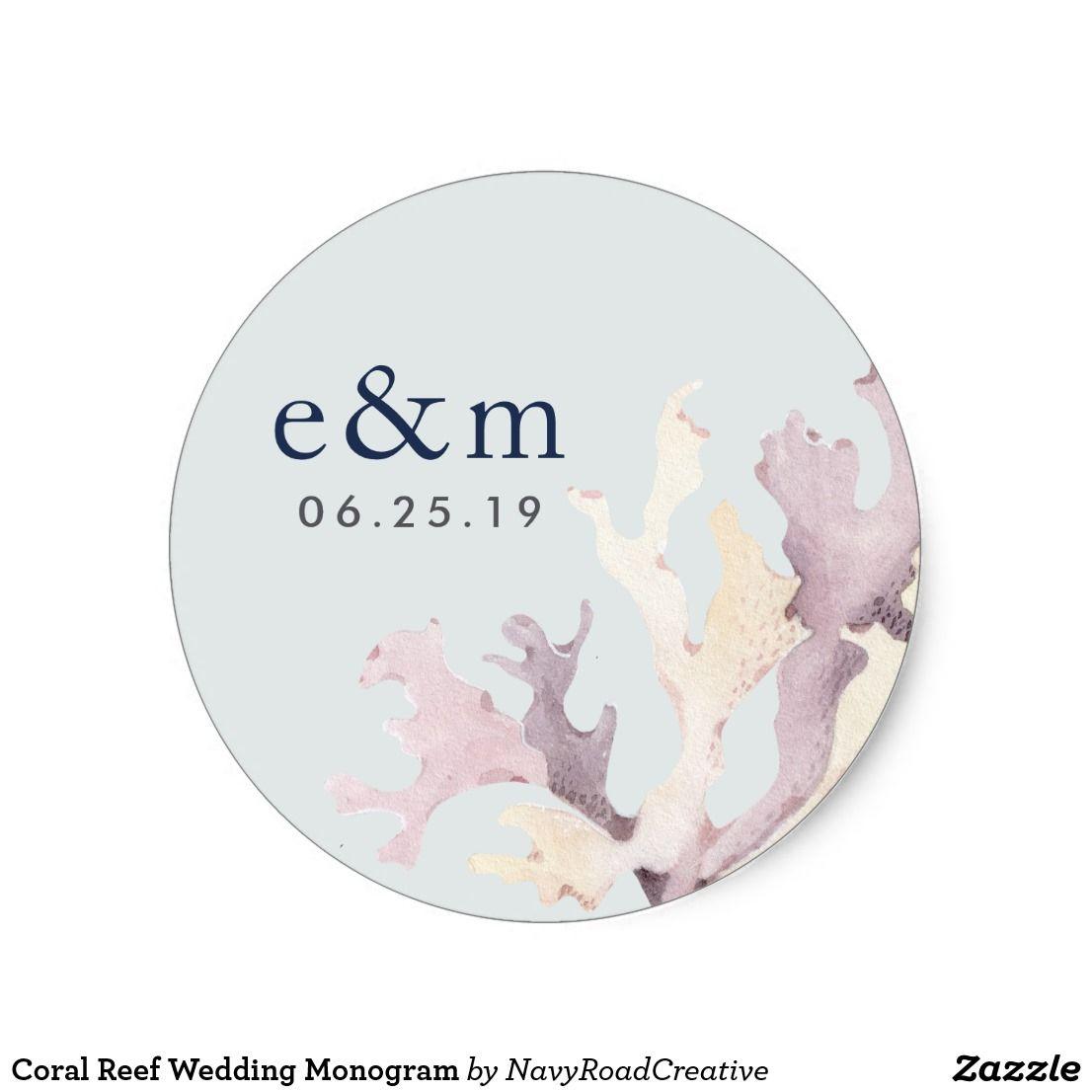 Coral Reef Wedding Monogram Classic Round Sticker Finish your summer ...