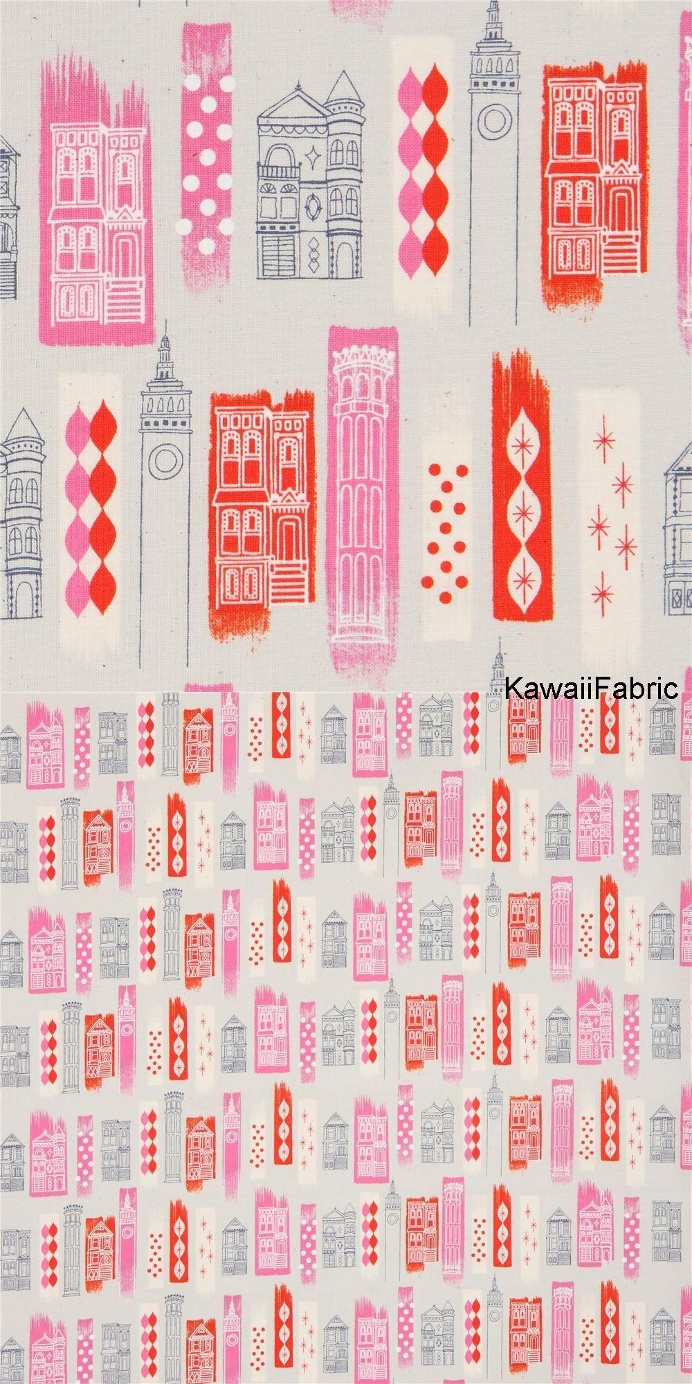 23282d06b5 Grauer Stoff mit Gebäuden und Mustern von Cotton + Steel - Kawaii Fabric  Shop