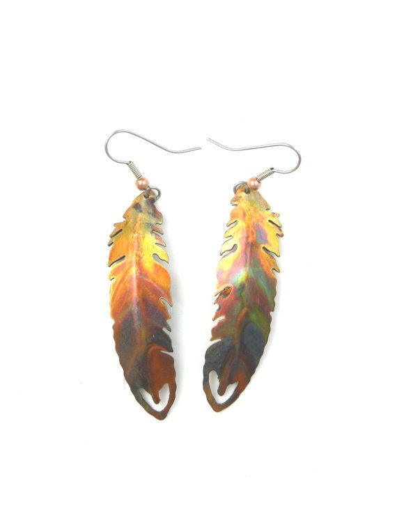 Feather Earrings Boho Feather Earrings Feather Jewelry