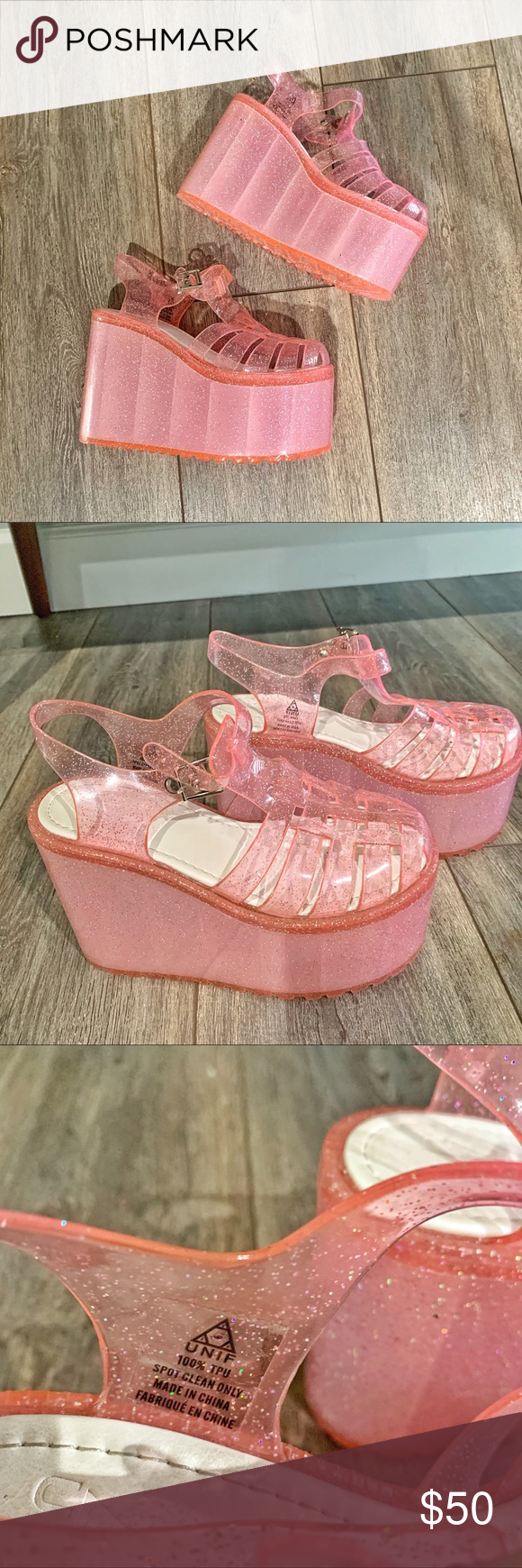 ade534466624 UNIF Hella Jelly Pink Glitter Platforms Platforms used only once for a  special occasion. In