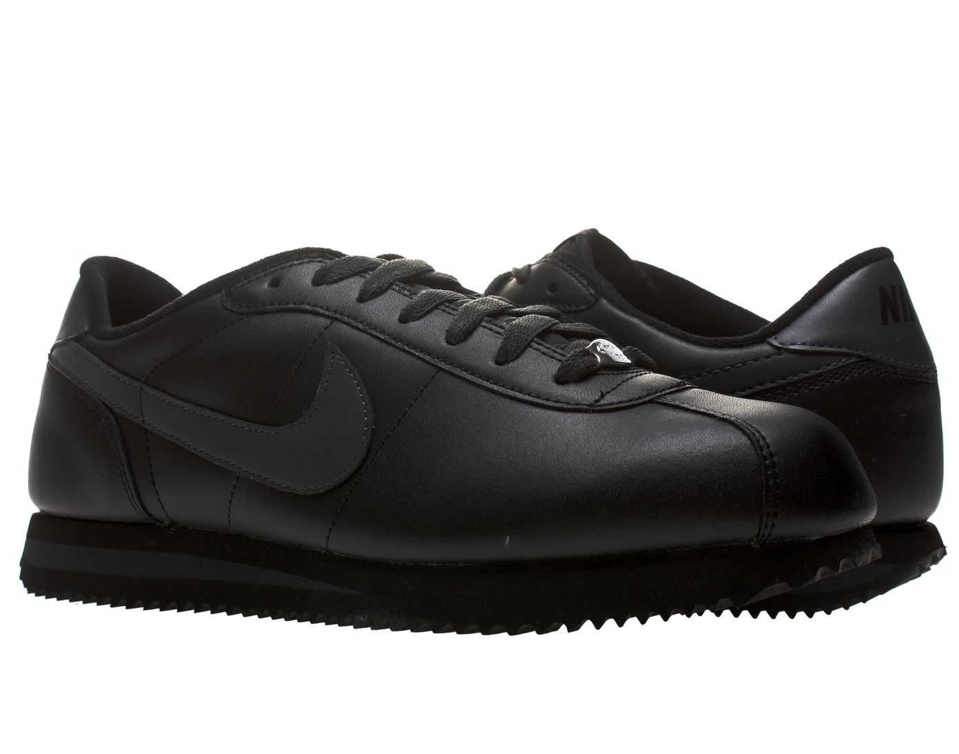 all black leather nike cortez