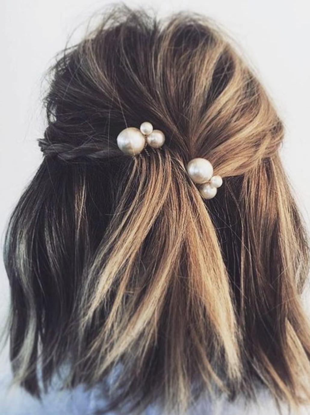 pearl bobby pins | Short hair styles, Hair styles, Long hair styles