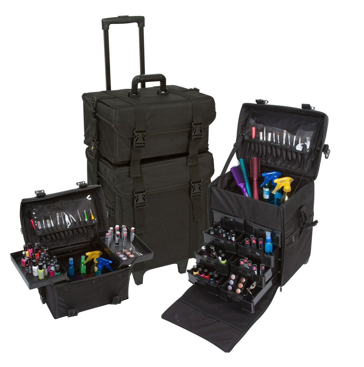 Just arrived! 2 in 1 Black Fabric Rolling Makeup Case Set