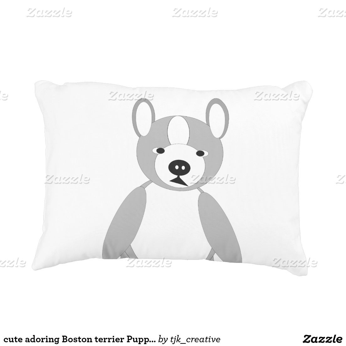 cute adoring Boston terrier Puppies Decorative Pillow