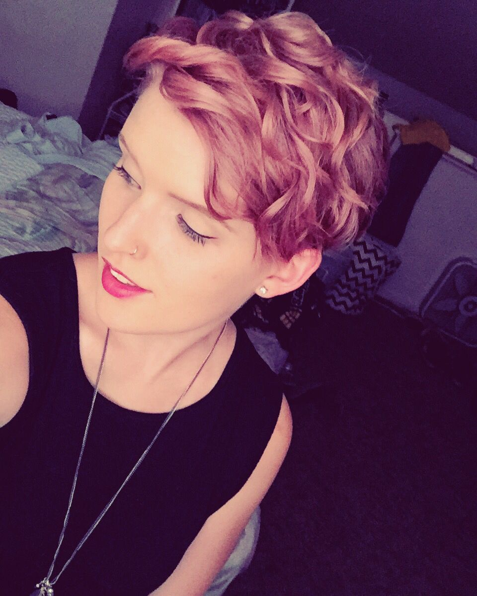 Perm for very short hair this epic perm really speaks for itself - Pink Pixie Cut Shout Out To Ion Color Brilliance Rose For Giving Me