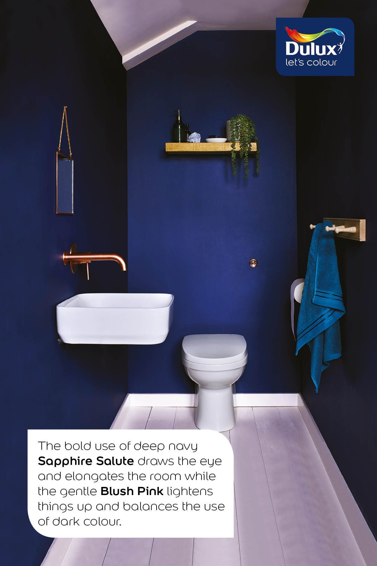 Dark Blue Bathroom Idea Downstairsloo Use A Navy Blue Like Dulux Sapphire Salute To Add Wow Factor To Your Dark Blue Bathrooms Blue Bathroom Small Toilet Room