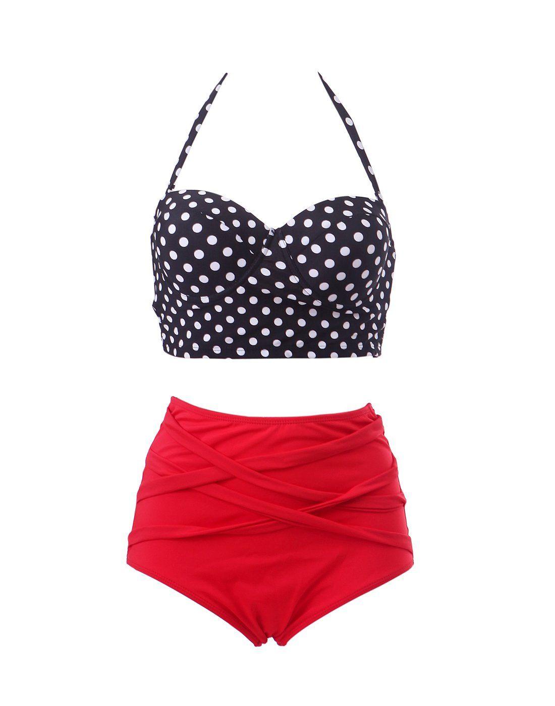 a141043b69 HDE Women Vintage 50s Pinup Girl Rockabilly High Waist Retro Bikini Swimsuit  Set (Polka Dot Bustier with Red Bottom, Large)
