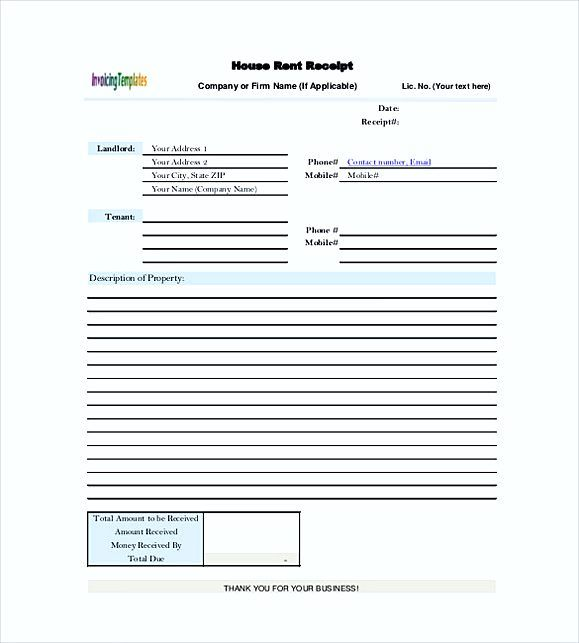House Rent Receipt Templates  Rent Invoice Template  Knowing
