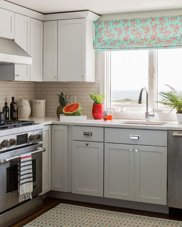 Light Grey Kitchen White Cabinets katie rosenfeld design - kitchens - small kitchen, upper cabinets