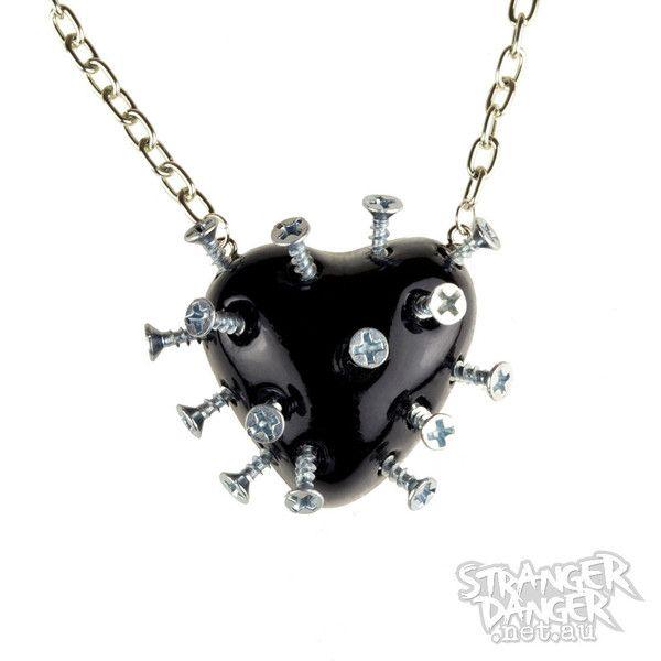 aec4e449c7ca3 Black Broken Heart Necklace With Screws (goth, jewellery, punk, emo ...
