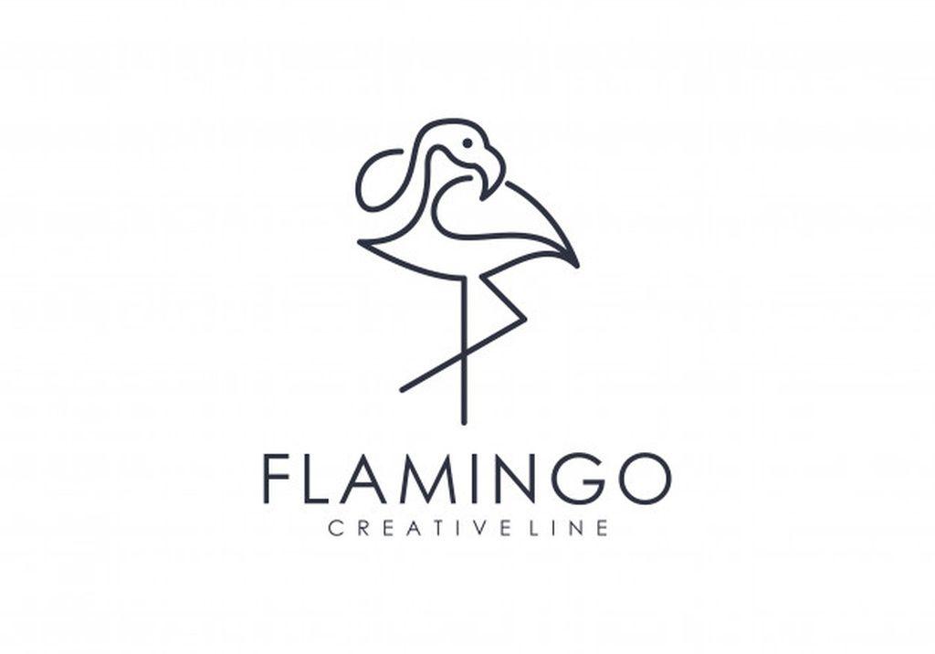 Unique Flamingo Outline Logo Paid Ad Sponsored Flamingo Outline Logo Unique Clean Logo Design Corporate Logo Design Logo Design Inspiration