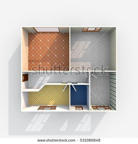 #Stock #photo: #3d #interior #rendering of #empty #home #apartment with #floor and #wallpaper #materials #shutterstock