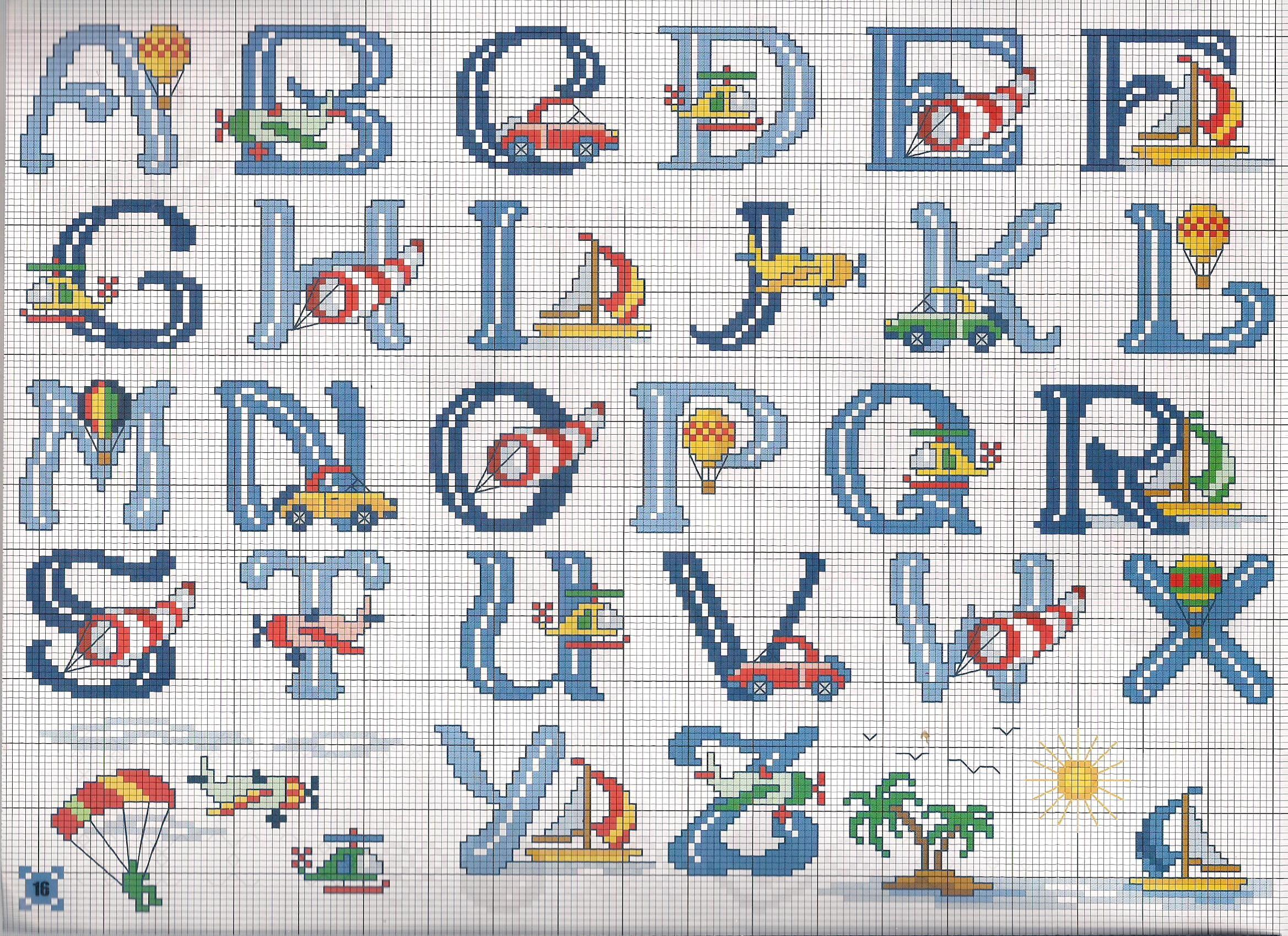 Alfabeto mezzi trasporto punto croce for Immagini punto croce per bambini