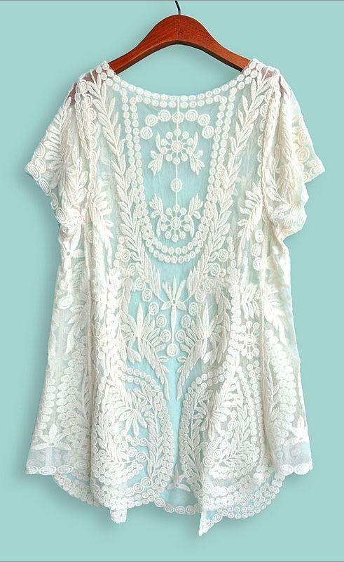 White Short Sleeve Crochet Net Lace Cardigan | Crochet lace ...