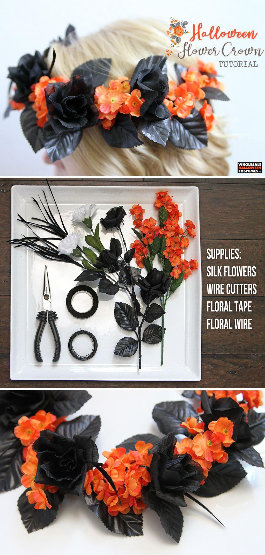 Diy halloween flower crown diy halloween costume ideas pinterest diy halloween flower crown wholesale halloween costumes blog izmirmasajfo