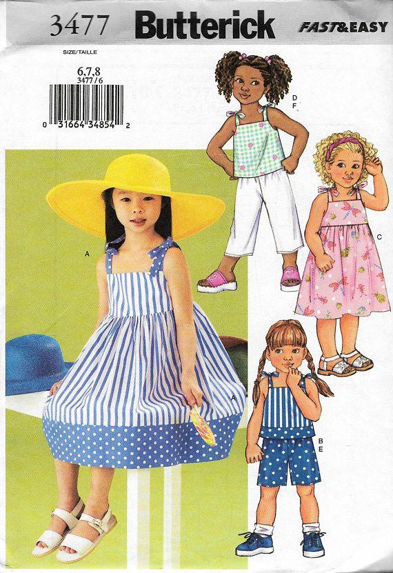 e76a4af70a6d4 Butterick 3477 Girls Dress Top Short Capri Pant Sewing Pattern New ...