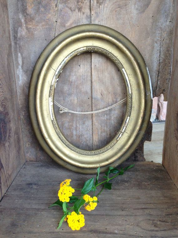 Antique Frame Gold Wood Plaster Oval Numbered by StylishPiggy, $22.00