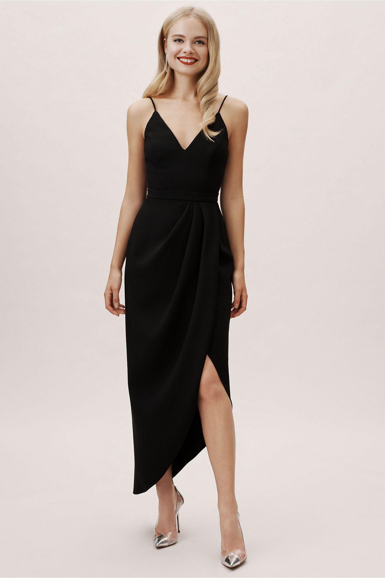 Caron V Neck Crepe Dress Black Bridesmaid Dresses Dress To Hide Belly Midi Bridesmaid Dress [ 2440 x 1625 Pixel ]