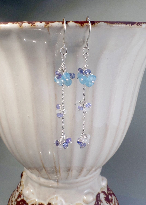 Rainbow Moonstone earrings –  Gemstone clusters – Moonstone jewellery – Gold earrings. Christmas gift for girlfriend – Boho earrings. by Mishalijewellery on Etsy
