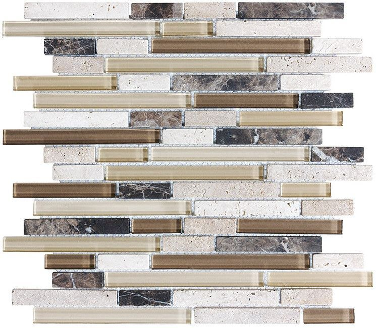 Bliss Cappucino Stone and Glass Linear Mosaic Tiles rocky point tile