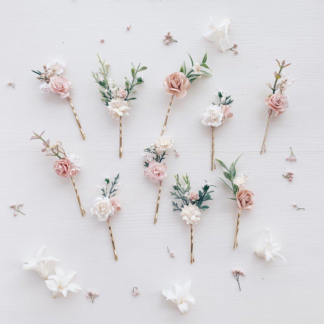 Flower hair pins, Bridal hair pins, WEDDING flower hair