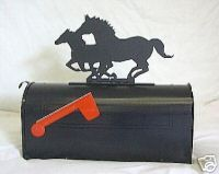 Western Horses Horse Mailbox Topper Sign Steel Metal Metal For Sale Steel Metal Metal Signs
