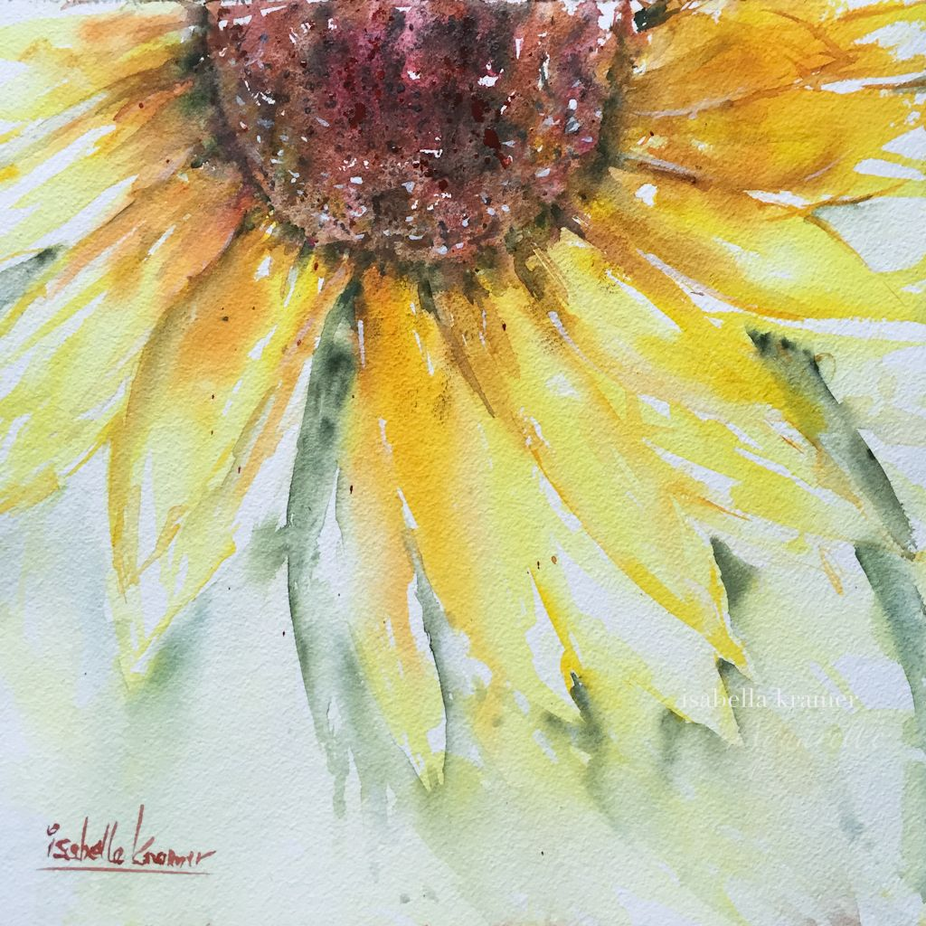 Summer S Smile Worldwatercolormonth Aquarell Sonnenblume