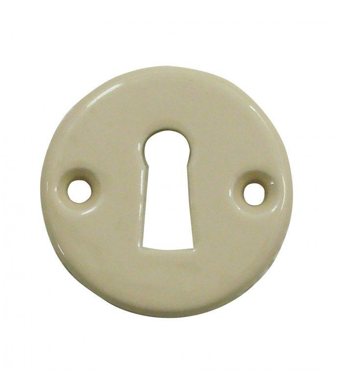 Rosace de fonction porcelaine Beige trou serrure - 1001poignées