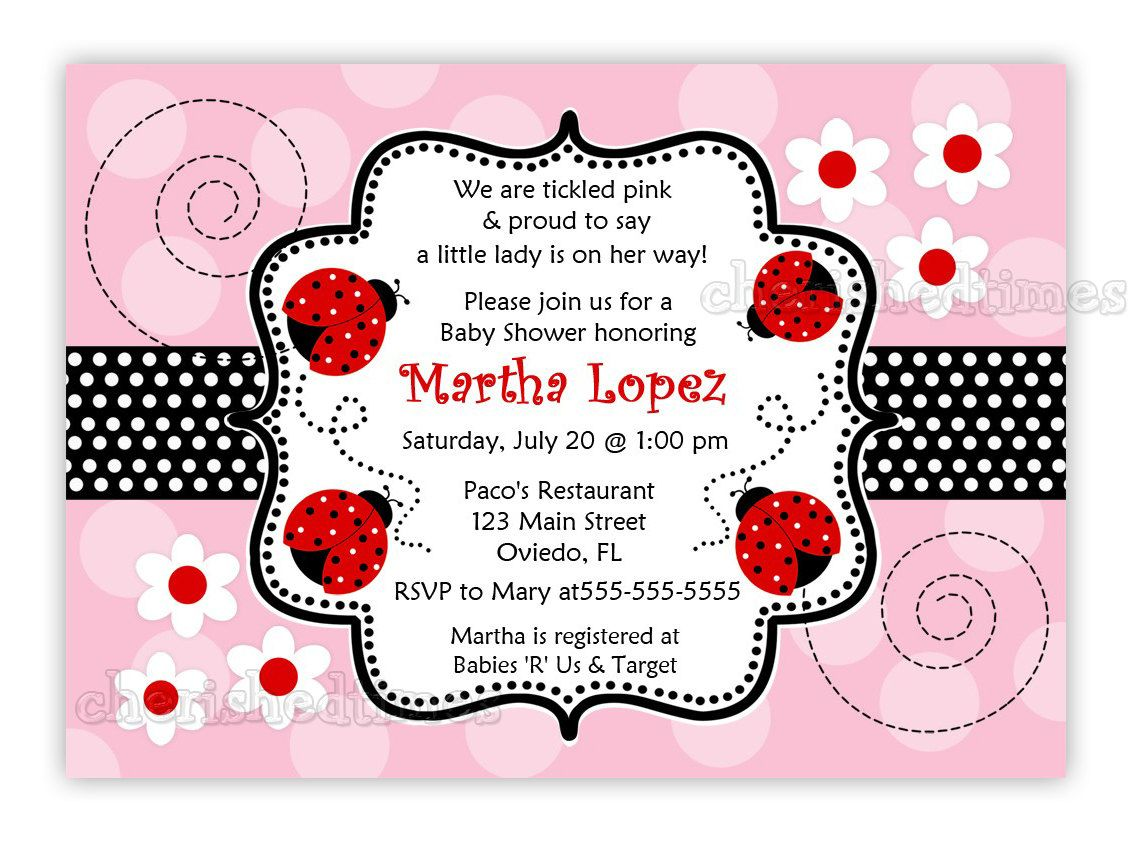 Another Pink and Red Ladybug Baby Shower Invitation (You Print ...