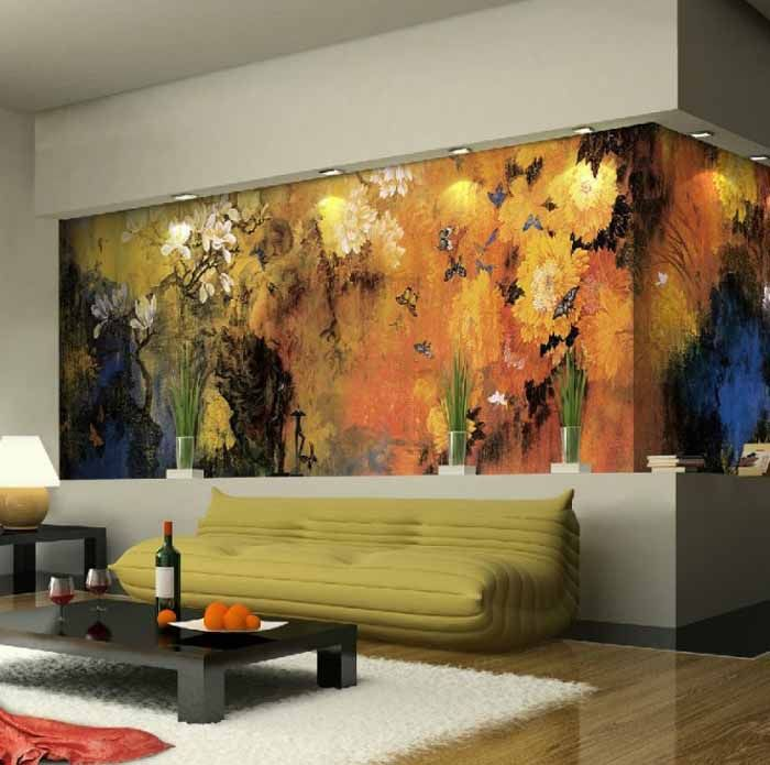 10 Living Room Designs With Unexpected Wall Murals Home Wall Painting Nature Inspired Living Room Best Wall Paint Contemporary wall painting living room