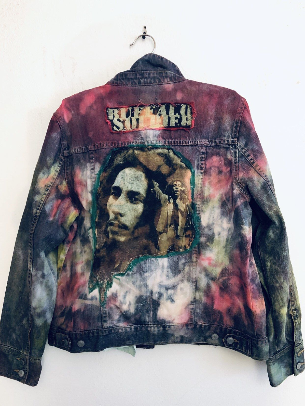 Download Retro 90's Bob Marley UPCYCLED patchwork Denim Jean VEST Woman's Size L/XL in 2020   Denim ...