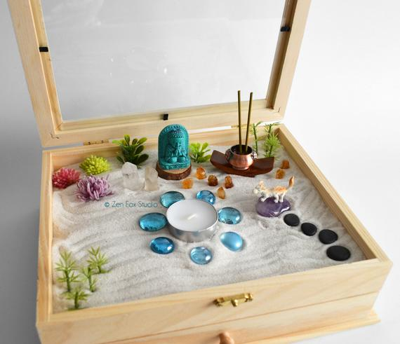 Ships July 15th Zen Garden Meditation Box Quartz Crystals Fairy Garden Diy Kit Buddha Panda Mini Zen Garden Zen Garden Dragon Figurines