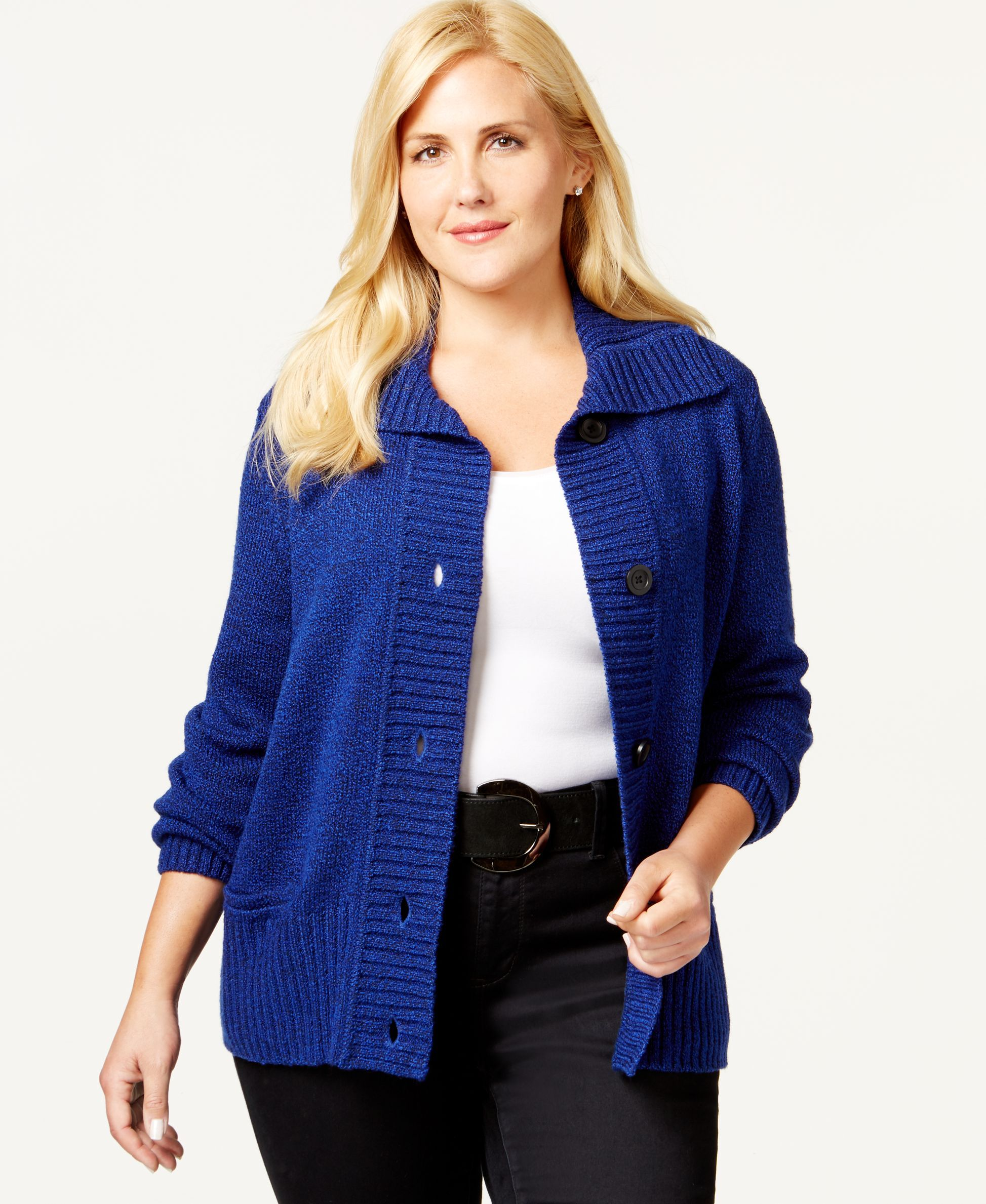 Karen Scott Plus Size Sweater Cardigan, Only at Macy's | OUT OF ...