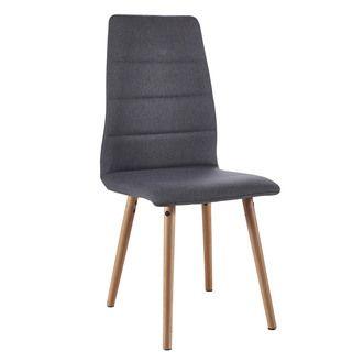 Chaise de salle à manger assise tissu et piètement bois