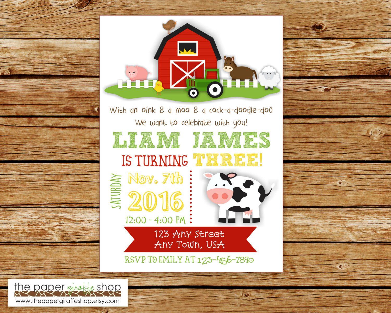 Farm Birthday Invitation Farm Birthday Party Farm Party