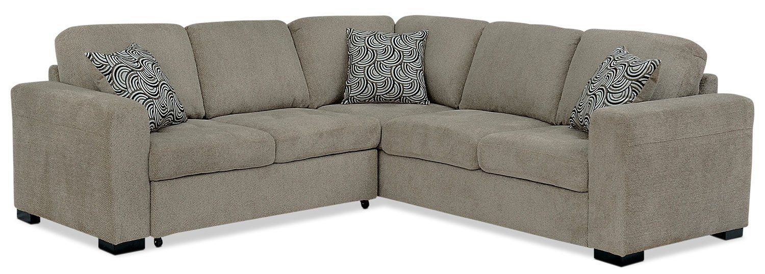 Izzy 2 Piece Chenille Sectional With Left Facing Sleeper Bed Platinum White Sofa Design Built In Sofa Living Room Collections
