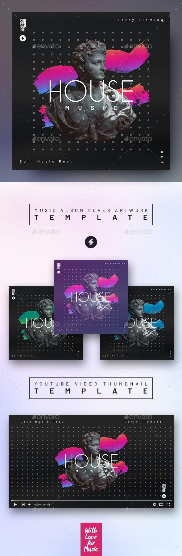 House Music Album Cover Artwork Video Thumbnail Template Music Album Cover Cover Artwork Album Covers