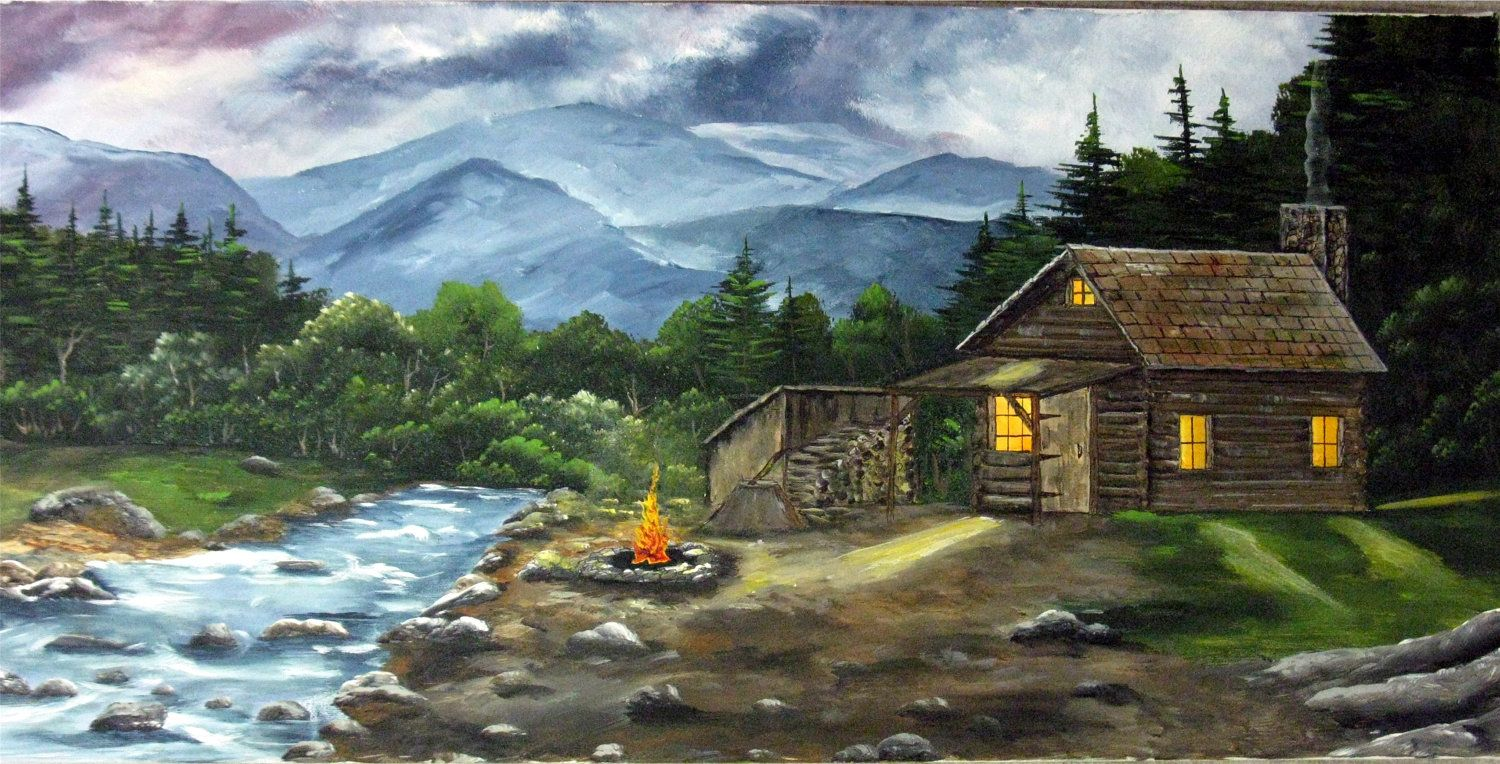 Acrylic painting canvas painting cabin log cabin for Mtn chalet